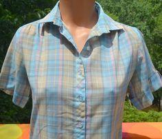vintage 70s blouse PLAID pintuck top women's shirt by skippyhaha