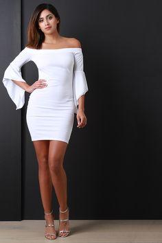 Bardot Flutter Bell Sleeves Mini Dress