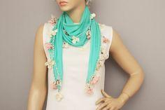 Turkish oya scarf   hand crocheted lace border     by SenasShop