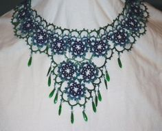 This was fun to design. Peacock inspired statement tatted necklace & by TattingByWendy, $135.00