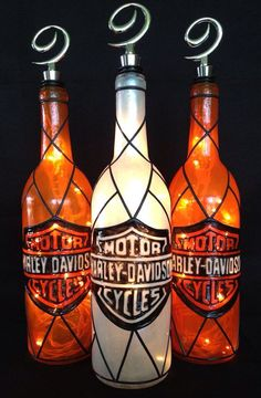 Harley Davidson Motor Cycles Wine Bottle of by BottleOfLights, $35.00