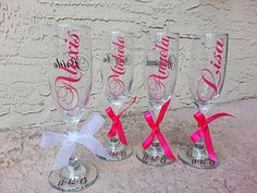 5 Bride bridesmaids personalized champagne flutes by Customforless Monogrammed Glasses, Personalized Champagne Flutes, Wedding Glasses, Brides And Bridesmaids, Party Favors, Cups, Wedding Day, Unique Jewelry, Handmade Gifts