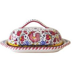 LIDDED BUTTER DISH: GALLO ROSSO.  Sabbiatalenti.com Gorgeous hand painted Italian pieces!