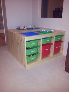 lego table for a play room...Ikea Trofast storage...WHY didn't I think of this!!