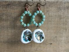 Turquoise Drops  Czech Glass Earrings. Wire door GillsHandmadeJewels, £18.00