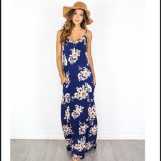 Beautiful Navy Floral Maxi Dress! Light weight and feminine navy maxi dress with floral print. Stunning in person! Size S M L ** please do not buy this listing. Comment what size you would like and I will make you a personalized listing! Dresses Maxi