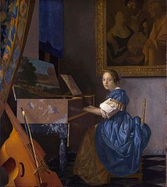 Johannes Vermeer Lady Seated at a Virginal, , National Gallery, London. Read more about the symbolism and interpretation of Lady Seated at a Virginal by Johannes Vermeer. Johannes Vermeer, Vermeer Paintings, List Of Paintings, Oil Paintings, Baroque Painting, Pink Painting, Arte Online, National Gallery, Dutch Golden Age
