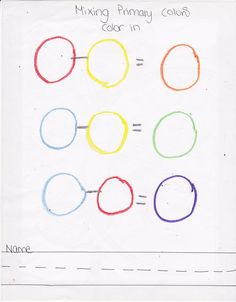 Primary color mixing Worksheet :) Very easy to duplicate or just copy.