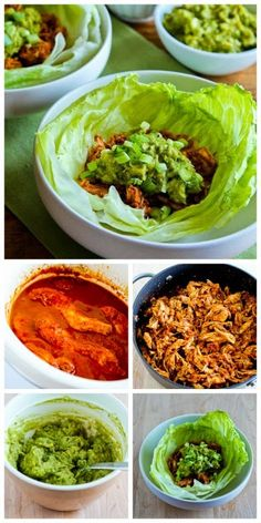 These Low-Sugar Slow Cooker Pulled Chicken (or pork) Lettuce Wraps from Kalyn's Kitchen are a tasty meal from the slow cooker that taste good any time of year and won't heat up the house in the summer! [Featured on SlowCookerFromScratch.com]