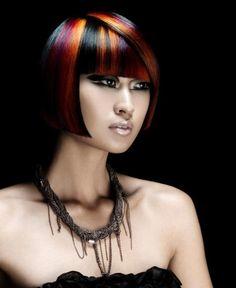 Short avant garde bob style with ultra straight bangs