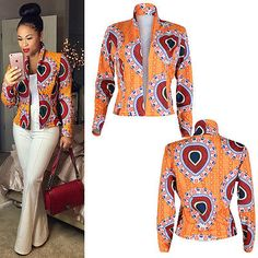 Fashion Women Long Sleeve Floral Casual Blazer Suit Casual Jacket Coat Outwear L African Print Dresses, African Print Fashion, Africa Fashion, African Fashion Dresses, African Dresses For Women, Fashion Prints, African Attire, African Wear, African Women