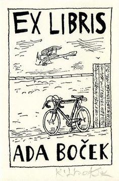 ***Ex Libris bike and biplane bookplate lithograph by Kamil Lhotak Ex Libris, Locuciones Latinas, Bike Drawing, Book Art, Reading, Illustration, Plates, Artist, Pictures
