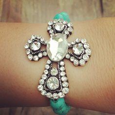 Turquoise Statement Cross Bracelet- Round $24.99!