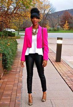 outfit blazer rosa mexicano - Buscar con Google