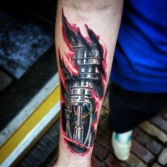 Skin Ripping Tattoo Designs For Males On Forearm With Red Ink