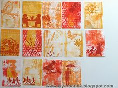 You can easily add layers of patterns and colour, but I decided to keep my prints pretty simple this time, since I was planning to add stamping on top. I picked out some of my favourite prints, in all the three colours and die cut with Tim Holtz ATC & Corners die. For the covers, I used mat board. I have a lot of left-over papers for another project.. Layers of ink: Dotty Gelli Print ATC Book