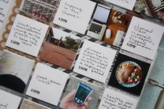 Project life - day in the life insert. 2x2 coin pages. Print times of days on squares handwrite extra details.