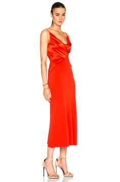 Image 3 of Dion Lee Silk Satin Bias Weave Dress em Vermillion