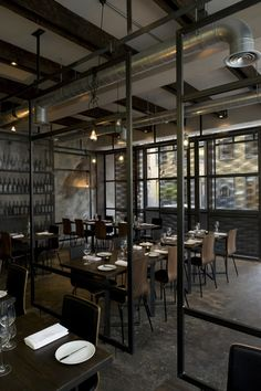 Tied up cord pendant Light in industrial chic restaurant