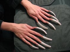 Super long French manicure