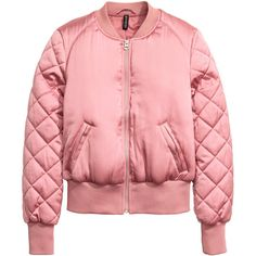 Pilot Jacket $34.99 ($35) ❤ liked on Polyvore featuring outerwear, jackets, quilted jacket, red quilted jacket, padded jacket, pink jacket and woven jacket