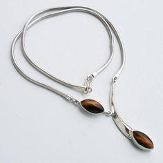 925 Sterling Silver Necklace 22''Tiger Eye Gemstone Jewelry-659
