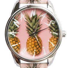 Womens Wrist Watch Pattern Pineapple Leather Band Analog Summer Quartz Watches #ZIZ #Fashion