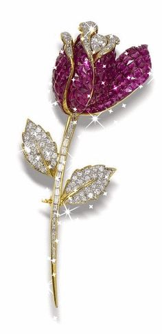 A ruby and diamond flower brooch Realistically modelled as a rose, the petals of french-cut rubies within concealed settings and brilliant-cut diamonds, enclosing a pear-shaped diamond, the stem and leaves of brilliant and baguette-cut diamonds, Jewelry Box, Jewelry Accessories, Fine Jewelry, Diamond Flower, Diamond Cuts, Hope Diamond, Antique Jewelry, Vintage Jewelry, Diamond Brooch