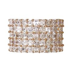 """Jossi """"""""Symphony"""""""" 18K Rose Gold Asscher Eternity Band (5 rows) ($29,900) ❤ liked on Polyvore featuring jewelry, rings, asscher cut ring, fine jewelry, square band ring, rose gold fine jewelry and rose gold jewelry"""