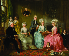 The Family Van Loon, painted by Adriaan de Lelie. 18th century. The lady in pale green has laid an embroidery frame at her feet while she pulls out a new color of thread from the box in her lap.