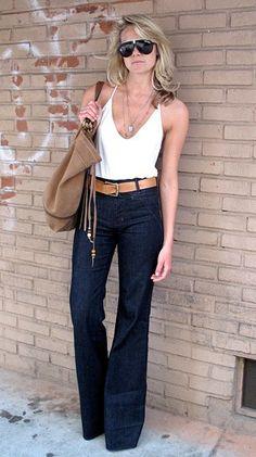 Calça flare cintura alta + blusa branca
