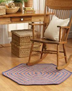 The crochet hexagon rug free crochet pattern has bright radiating stripes that can be modified to fit your home's decor. This crochet rug is a nice size for a bathroom or area rug and it's easy to make. Crochet Rug Patterns, Knitting Patterns Free, Crochet Yarn, Free Crochet, Free Knitting, Crochet 101, Simple Crochet, Crochet Tutorials, Crochet Projects