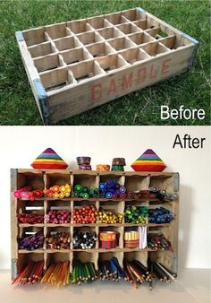What a great idea to store makers, colored pencils and art supplies!  Be green and recycle a crate!