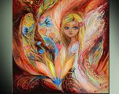 """Fantasy  art print """"My little fairy Sandy"""" on stretched canvas based on original painting of Elena Kotliarker. Signed authentic gift"""
