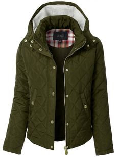 LE3NO Womens Quilted Long Sleeve Puffer Jacket with Faux Fur Hoodie