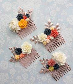 Bridal Hair Comb Navy Blue and Autumn Golden Yellow Rose Gold