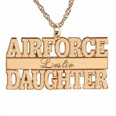 Personalized Airforce Daugther Name Pendant Necklace ($135) ❤ liked on Polyvore featuring jewelry, necklaces and pendant necklace