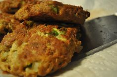 Salmon Patties.  This is how my Mom made them in the 50's & 60's.....    1 can Alaskan red or pink salmon, 1/2 medium onion finely chopped,  2 eggs, 1/2 - 1 c. crushed cracker crumbs, salt and pepper to taste, cook in frypan.