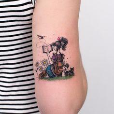 Tattoo @robcarvalhoart - Menina   Gato   Girl