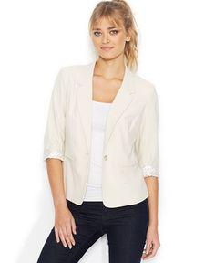 kensie Three-Quarter-Sleeve Blazer - Jackets & Blazers - Women - Macy's