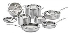 Made from stainless steel, this cookware set heats quickly and spreads heat evenly. An aluminum core also adds to the durability of this cookware set. This MultiClad Pro Cookware Set by Cuisinart Cuisinart Cookware, Cookware Set, Bakeware, Home Design, Design Ideas, Pasta Pot, Casseroles, Safest Cookware, Pots And Pans Sets