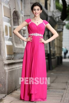 A-line Empire V-neck Ruching Cap Sleeve Carving Rhinestones Belt Chiffon Floor Length Evening Dresses