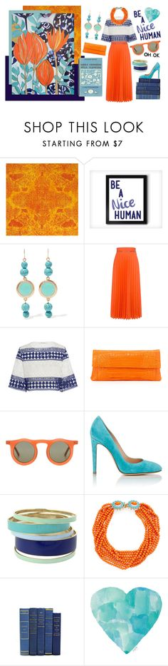 """Orange"" by roo-roo-lu ❤ liked on Polyvore featuring WALL, Kenneth Jay Lane, Karen Walker, Philosophy di Lorenzo Serafini, Nancy Gonzalez, Carla Colour, Gianvito Rossi and Lipsy"