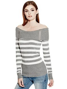 GUESS Factory Women's Loray Off-The-Shoulder Sweater  Special Offer: $15.00  166 Reviews Turn heads in this effortless sweater featuring an off-the-shoulder design, rib-knit trim and zipper detail at front.71% Rayon, 29% NylonHand wash