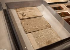Historical: Newspapers found in a 1795 time capsule, are displayed at the Museum of Fine A...