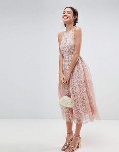 fe346d47f510 Asos Lace Pinny Scallop Edge Midi Prom Dress Event Dresses