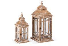 One Kings Lane - A Breath of Fresh Air - Wooden Lanterns, Asst. of 2, Brown