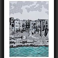 Polignano a mare (cm.20x30 tecnica mista su cartoncino) #polignano a mare #artist #art #design #resim #drawing✏ #illustrator #illustration #grafiktasarim #puglia #bari #tolgaozasil