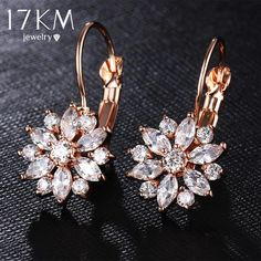 160850413 Rose Gold Color Crystal Flower Stud Earrings For Women Bijoux Vintage Love  Wedding Earring Statement Brinco Bijouterie