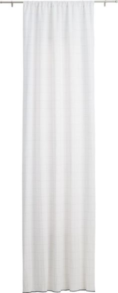 """Free Shipping.  Shop gridlock curtain panel 48""""x84"""".   Bright white backgrounds a series of squares stitched in fine black lines with a kicky band at the bottom.  Neutral graphic plays well with any existing palette."""